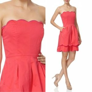 Ted Baker Pink Strapless Dress Scallop Hem Party 0